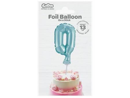 """Balon foliowy 13 cm na patyczku """"Cyfra 0"""", błękitna BC-5BL0"""