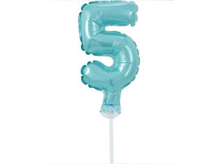 """Balon foliowy 13 cm na patyczku """"Cyfra 5"""", błękitna BC-5BL5"""