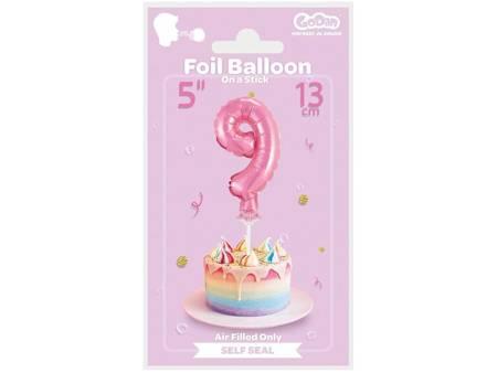 """Balon foliowy 13 cm na patyczku """"Cyfra 9"""", różowa BC-5RO9"""