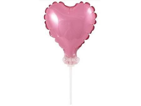 Balon foliowy 8 cm serce na patyczku, różowe BS-4RO