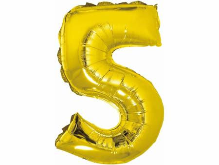 """Balon foliowy """"Cyfra 5"""", złota, 35 cm FG-C35Z5"""