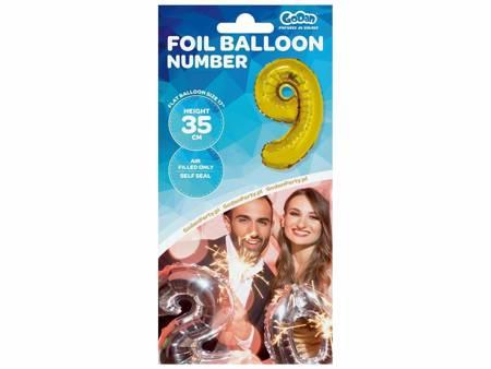 """Balon foliowy """"Cyfra 9"""", złota, 35 cm FG-C35Z9"""