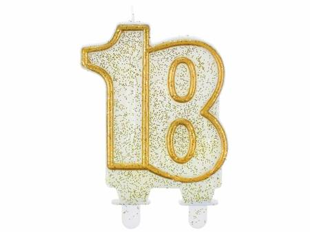 """Świeczka B&C cyferka """"18"""", złoty kontur SF-CZ18"""