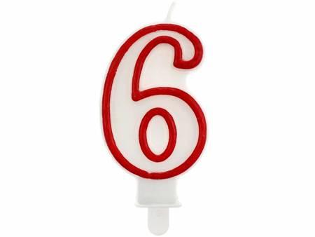 """Świeczka cyferka """"6"""", czerwony kontur 7 cm PF-SCC/6"""